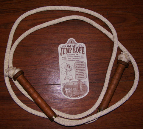 Antique Wooden Bobbin Jump Rope With Natural Jute Rope #909