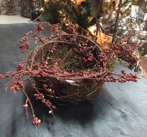 Christmas Ornament Decor Bird's Nest with Cranberries