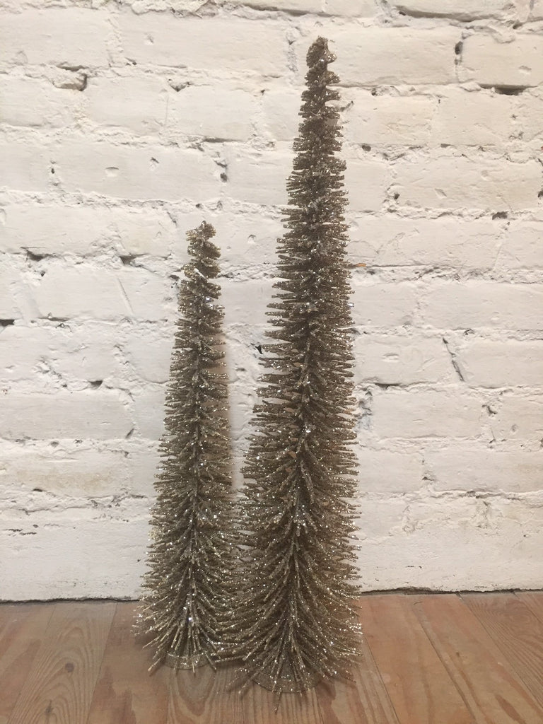 Christmas Decor Gold Sparkly Bristle Trees SET OF 2 #117-19