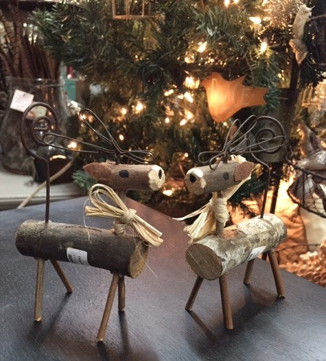Christmas Ornament Natural Twig Deer Set of 2