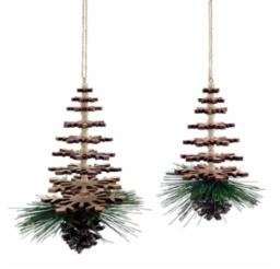 Christmas Ornament Wooden Snowflake Tree Set of 2
