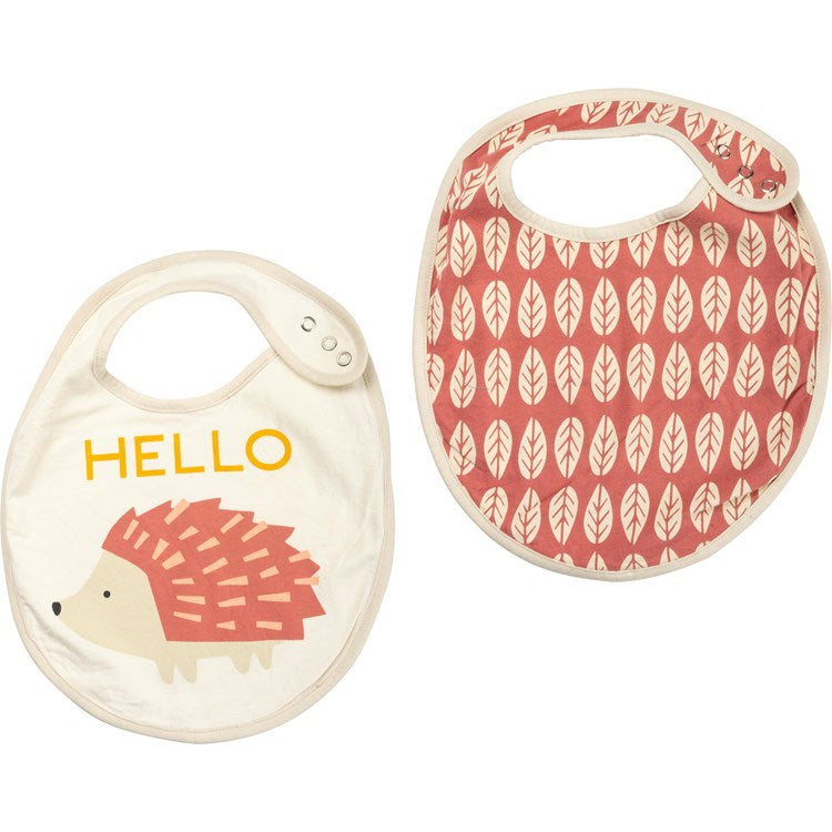 Bib Set of 2 Hello Hedgehog Pink #1236