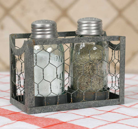 Chicken Wire Salt and Pepper Mason Jar Shakers with Caddy #800-96