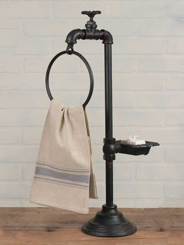 Towel and Soap Holder Water Spigot Cast Iron Garden Theme Gardener #800-68