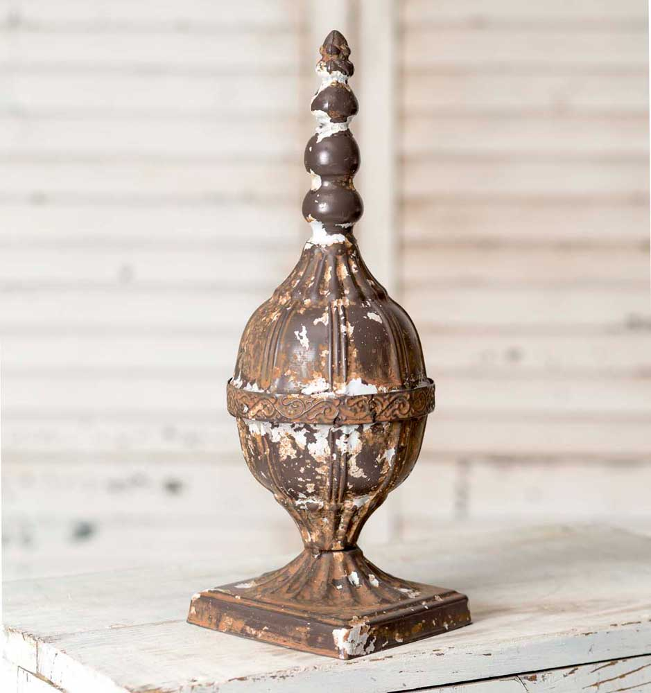 Tin Decorative Ornate Distressed Rustic Finial For Tabletop Or