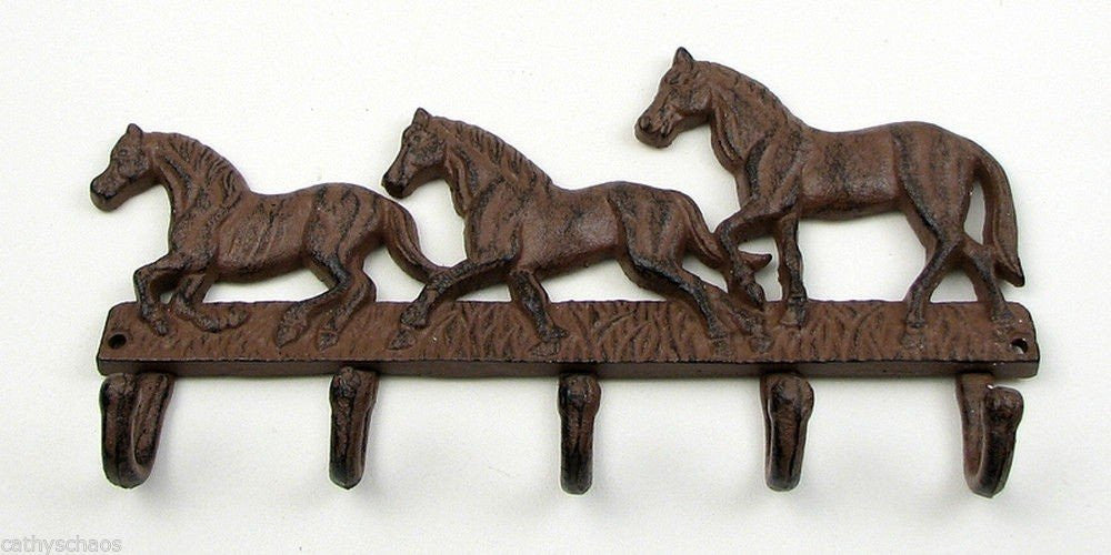 Cast Iron Horse Wall Hook Key or Coat Rack Western Decor  #140