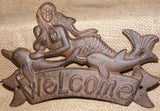 Mermaid Welcome Sign Cast Iron Brown Rustic Plaque Decor #132