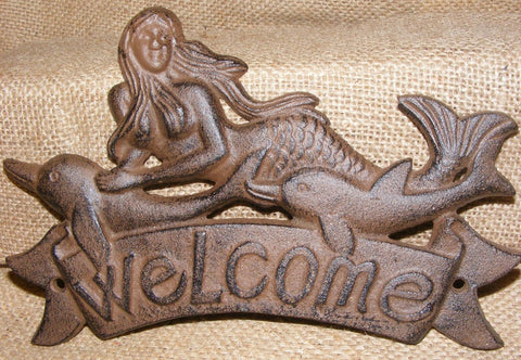 Cast Iron  Mermaid Welcome Plaque #132