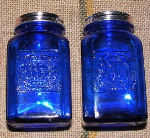 Cobalt Salt and Pepper Shakers Pair Reproduction Depression Glass # 504C
