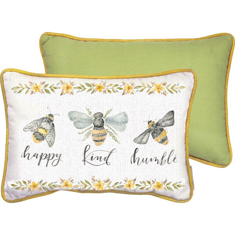 "Pillow ""Happy Kind Humble"" with  Honey Bees #1290"