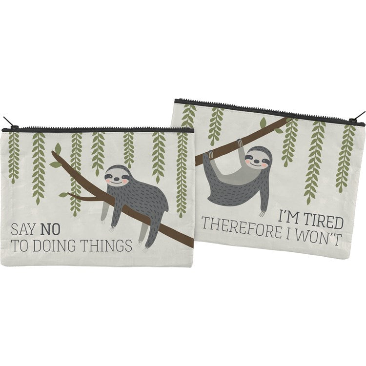 "Zipper Folder ""I'm Tired, Therefor I Won't"" with Sloth #1255"