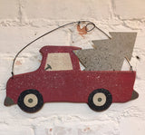 Christmas Ornament Primitive Big Red Truck Wood Sign With Tin Tree in Back #898