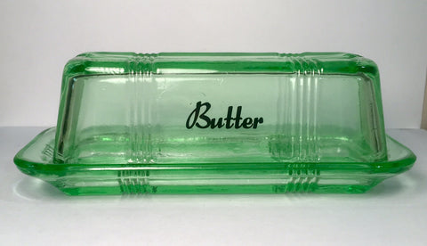 Green Butter Dish Reproduction Depression Glass #525G
