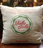 Holly Jolly Vintage Style Christmas Tree Pillow