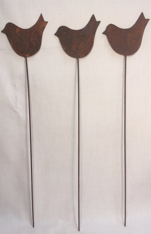 Plant Stake Garden Pick SET OF 3 Bird shaped Flat Stakes Flower Pot Rusty Picks Yard Ornament Patio Decor #1009