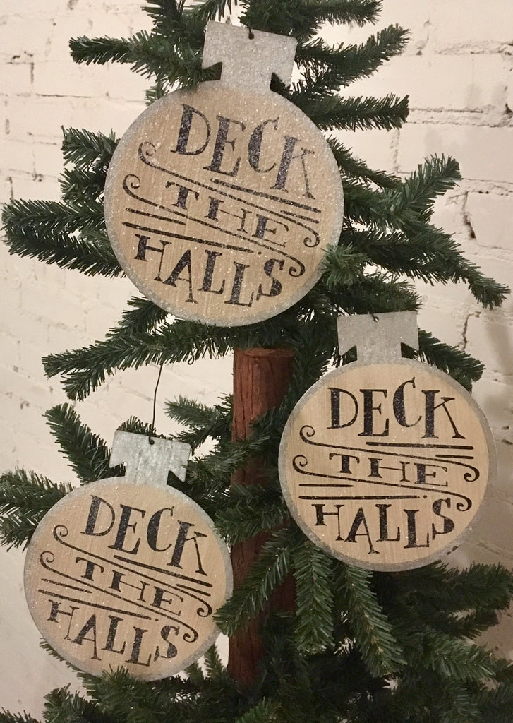 "Christmas Tree Ornaments ""Deck the Halls"" Tin Round Bulb - Set of 3"