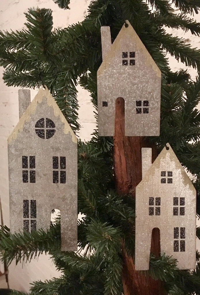 Christmas Tree Ornaments Silver Tin Snow Houses Set of 3 #741