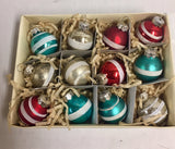 Christmas Tree Bulb Ornaments Retro Style - Set of 12 Bulbs