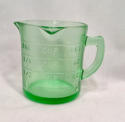 Green Glass Measuring Cup - Reproduction Depression Glass # 515G