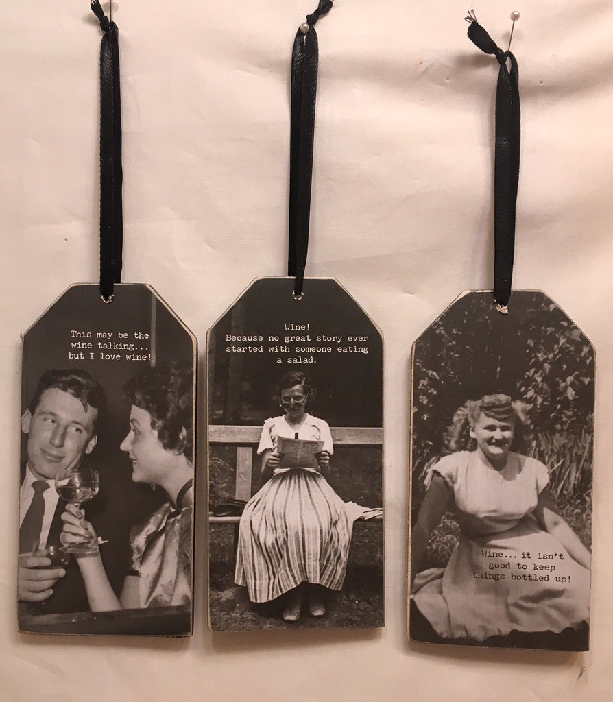 Set of 3 Wine Bottle Tags - Wooden Funny Quote Clever Quotation Accessory for any Wine Drinker WT2