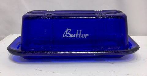 Cobalt Blue Butter Dish Depression Glass # 525C