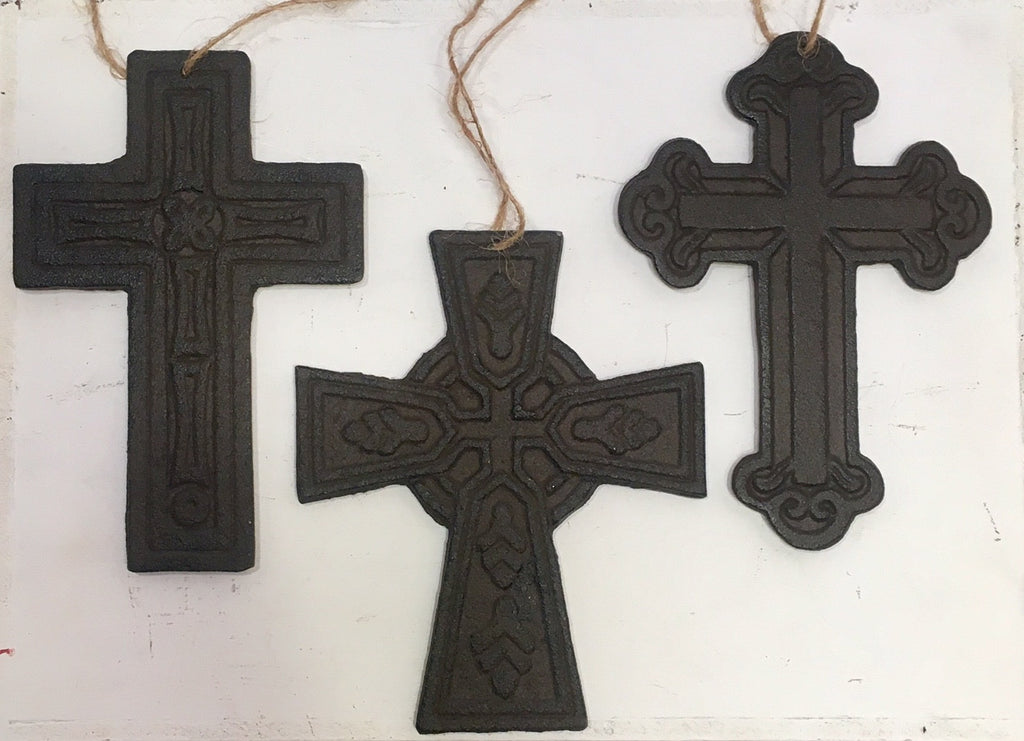 Cast Iron Cross Ornaments - SET OF 3 Crosses - Christian Rustic Wall Art Home Decor #422
