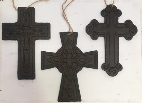 Cast Iron Cross Ornaments - SET OF 3