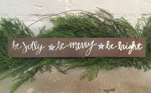 Jolly Merry Bright Christmas Wood Sign #904