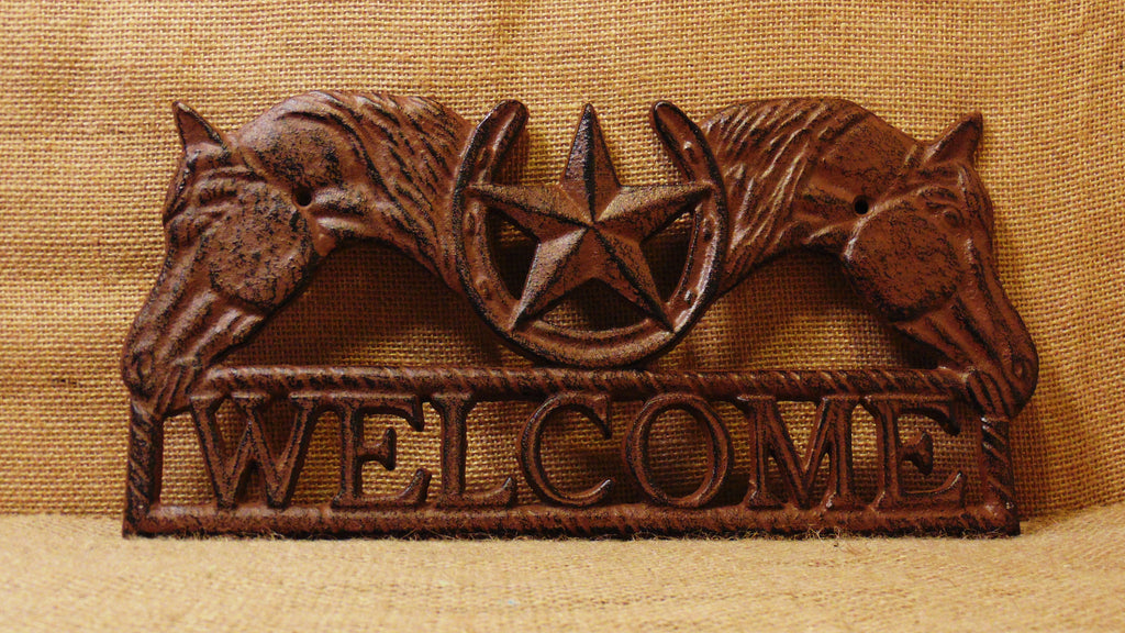 Cast Iron Horse Shoe Star Welcome Plaque #230