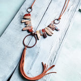 Hammered Copper Hoop on Aqua Terra Necklace #117-131