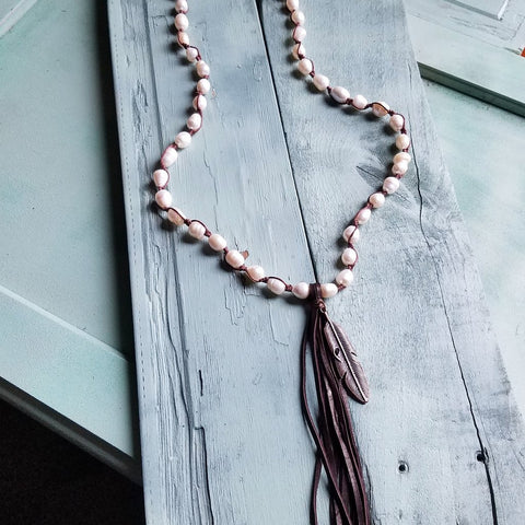 Freshwater Pearl Crochet Tassel Necklace #117-128