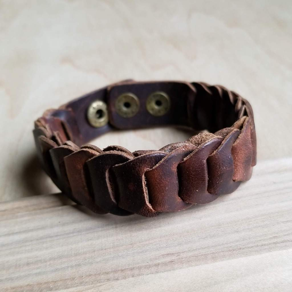 Woven Vintage Narrow Leather Cuff #117-122