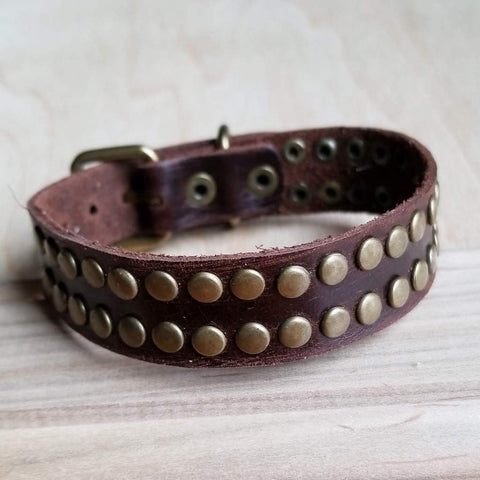 Narrow Leather Cuff Bracelet with Rivets #117-123