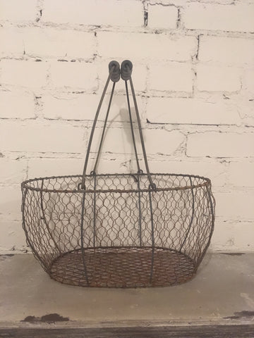 Chicken Wire Basket Egg Caddy Reproduction - Farmhouse Farm Fresh Home Decor