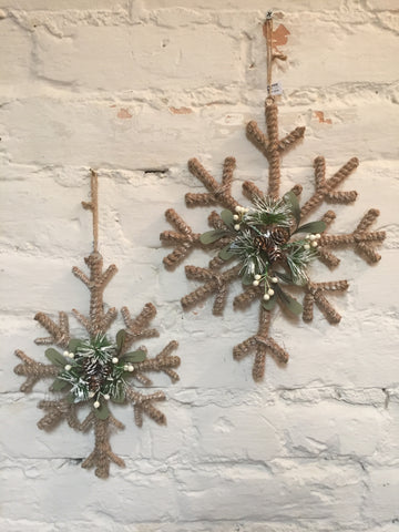 Jute Snowflake Ornaments Set of Two #117-11