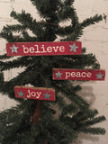 Christmas Tree Ornaments Set of 3 Red Wooden Holiday Sign Joy Peace Believe #894