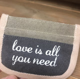"Canvas Bag ""Love is all You Need"" with Heart Graphics Small Credit Card Wallet #927"