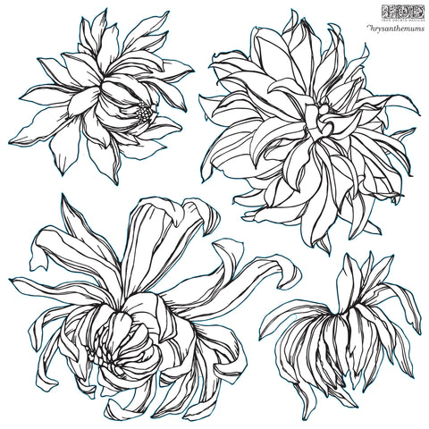 "IOD Decor Stamp Chrysanthemums 12x12"" by Iron Orchid Designs"