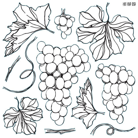 "IOD Decor Stamp Grapes 12x12"" by Iron Orchid Designs"