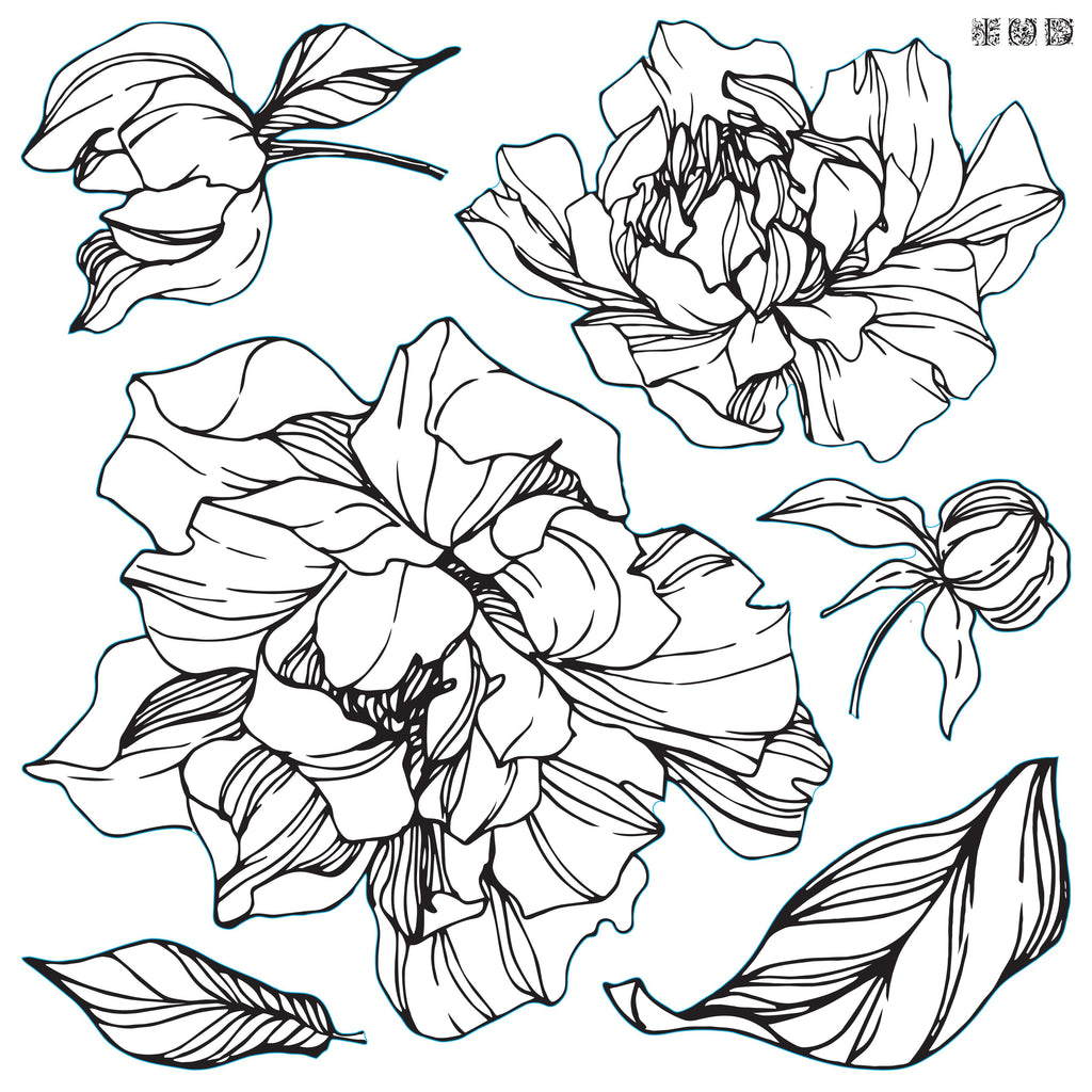 "IOD Decor Stamp Peonies 12x12"" by Iron Orchid Designs"