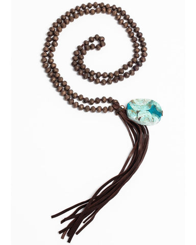 Jewelry Junkie Copper Beaded Necklace with Ocean Agate & Leather Tassel #117-207