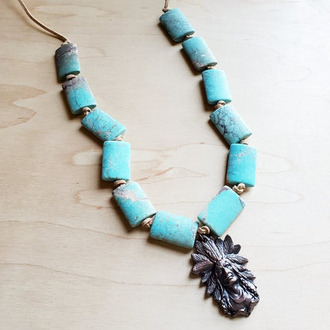 Frosted Regalite Beaded Necklace with Indian Head Pendant #117-206