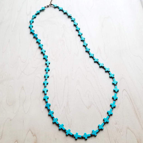 Blue Turquoise Cross and Wood Beaded Necklace #117-202