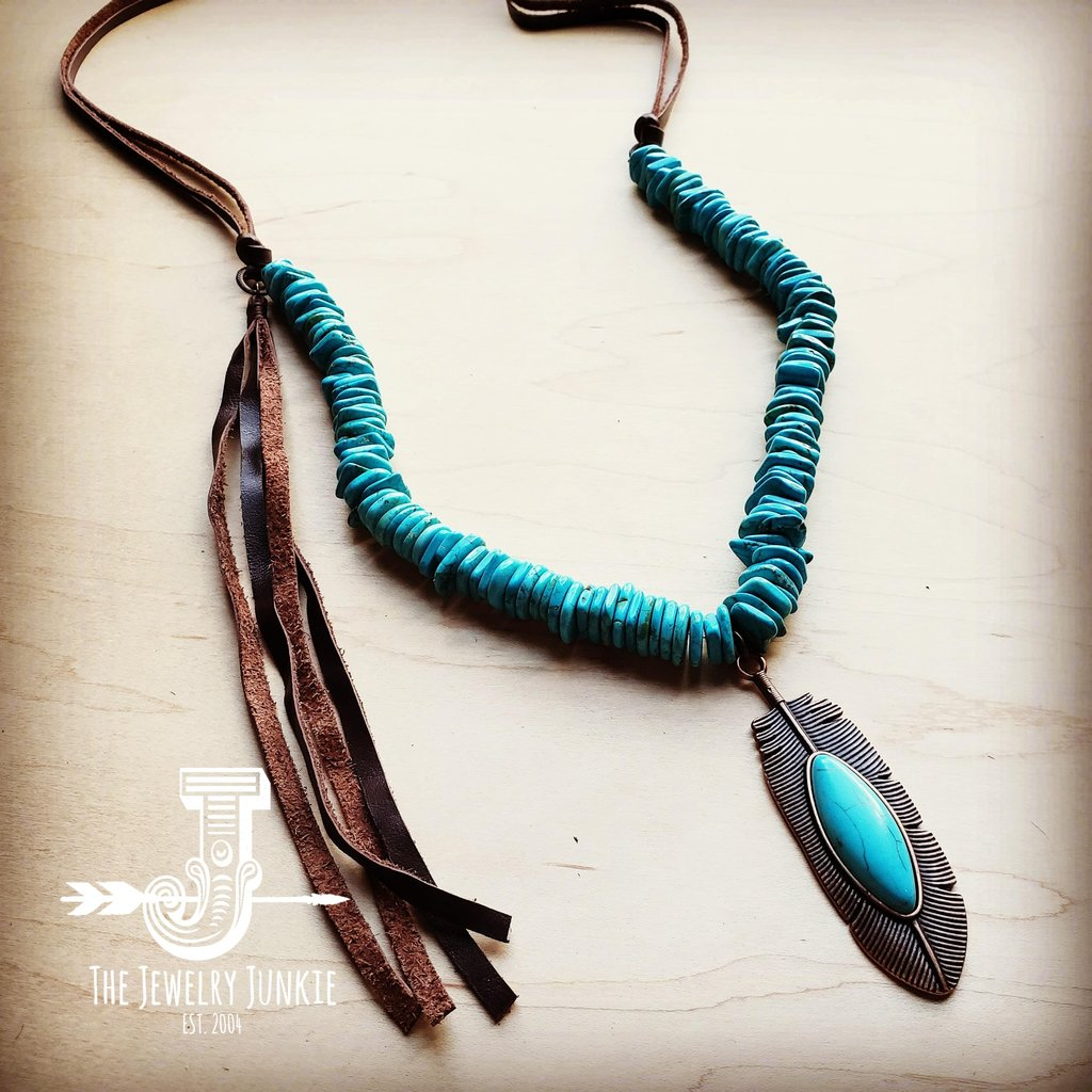 Blue Turquoise and Copper Feather and Tassel Necklace #117-203
