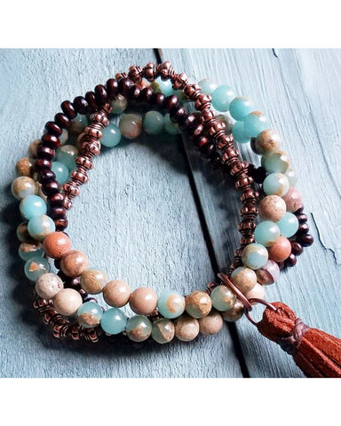 Bracelet Amazonite with Leather Tassel 4-Strand Stretches to Fit #117-105