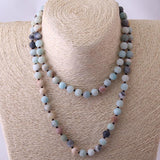 "Necklace Amazonite Natural Stone 27"" Hand Knotted 8mm Beads #117-100"