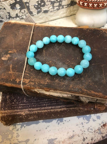 Bracelet Blue Amazonite Beaded Stretchy One Size Handmade #117-109