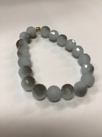 Bracelet Grey Druzy Beaded Stretchy One Size Handmade #117-114