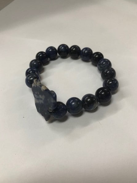 Bracelet Blue Lapiz Beaded Stretchy One Size Handmade #117-113