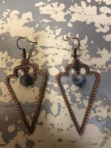"Earrings Copper Arrow Hoops with Blue Crazy Agate Beads 3 "" #117-116"